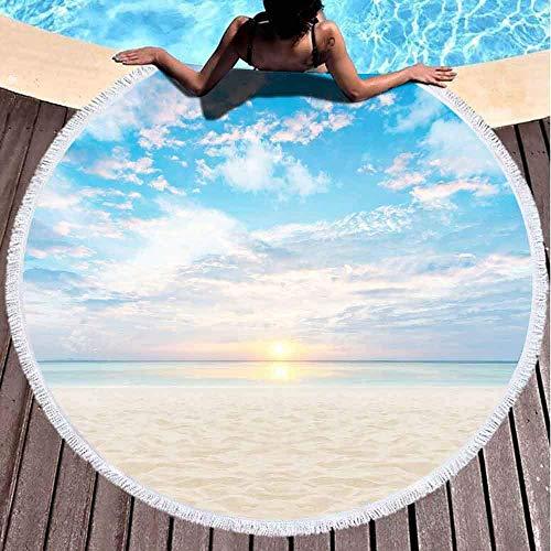 Xuanlin Toallas de Playa para niñas, Toalla de Playa de Secado rápido Toallas de Playa Suaves Sand Beach Sunset Toalla de Playa Redonda de Microfibra de 60 x 60 Pulgadas