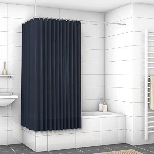 WIDORO Textil-Duschvorhang | alle Größen verfügbar | wasserdichter Stoff | Anti-Schimmel und Anti-Bakteriell | waschbar | Polyester | inkl. Ringe | 180 x 180 cm (BxH) Marineblau mit verstärktem Saum