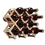 QASIOUN - Botellero de madera apilable - Soporte plegable para 10 botellas - Botellero para sótanos - Caja de vino, moderna, ideal y estable - Regalo para familia, amigos y amantes del vino