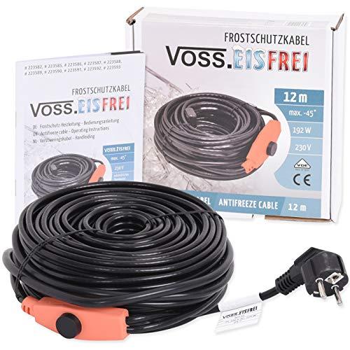 12m Frostschutz Heizkabel mit Knopf-Thermostat VOSS.eisfrei, 230V, Heizleitung Zum Schutz von Wasserleitungen und Weidetränken