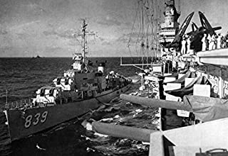 Home Comforts The U.S. Navy Aircraft Carrier USS Midway (CVB-41) refuelling The Gearing-Class Destroyer USS Power Vivid Imagery Laminated Poster Print 24 x 36