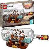 FZH Ideas Ship in a Bottle 21313 Expert Building Kit Snap Together Model Ship Set de exhibición Coleccionable y Juguete para Adultos (962 Piezas)-Estándar