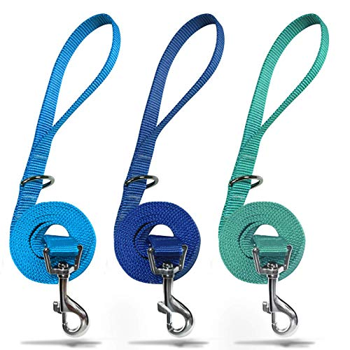 azuza 3 Pack Nylon Dog Leashes,Strong & Durable Basic Style Leash with Easy to Use Collar Hook,Available in Multiple Lengths for Puppy Small Medium and Large Dogs, Royal Blue/Blue/Light Blue