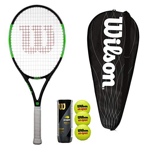 Wilson Blade Pro 103 - Raqueta de tenis con cubierta y 3 pelotas de tenis (tamaño de agarre 3 (4 1/4')