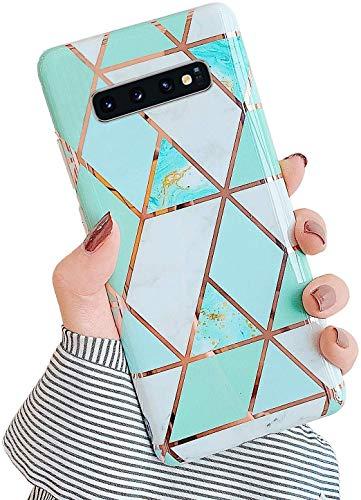 Uposao Kompatibel mit Samsung Galaxy S10 Plus Hülle Silikon Durchsichtige Schutzhülle mit Muster Motiv Marmor Hülle Weiche TPU Slim Stoßfest Ultra Dünn Handyhülle Backcover Tasche,Grün