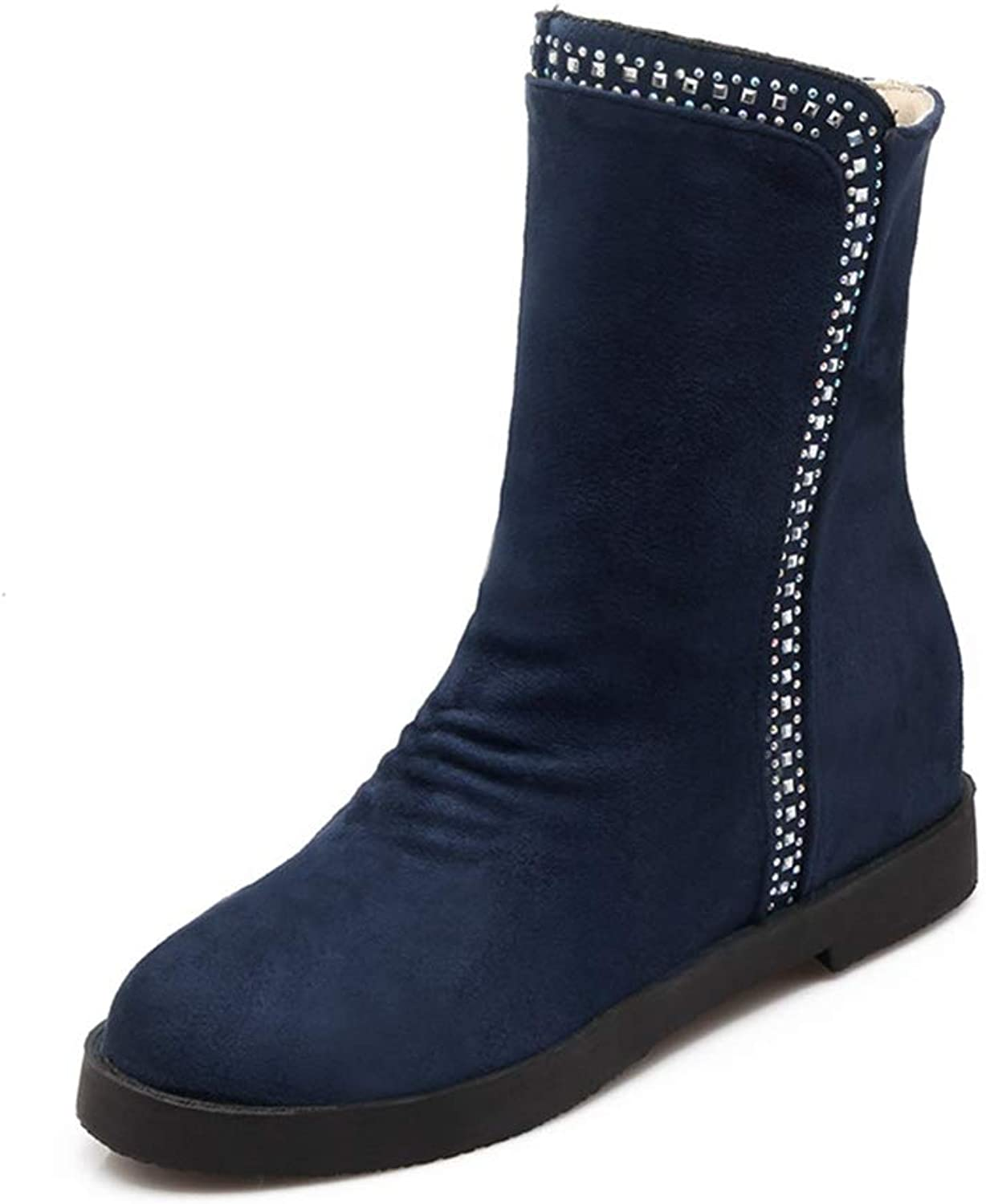 Women's Mid-Calf Boots Wedge Height Increasing Woman Short Boots Warm Comfort shoes
