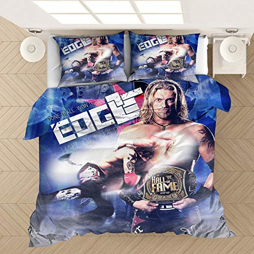 Juego de cama para hombres, funda nórdica y funda de almohada impresa en 3D del campeón de lucha libre de la WWE, adecuada para una cama individual doble king size-3_200 * 200 cm (3 piezas)