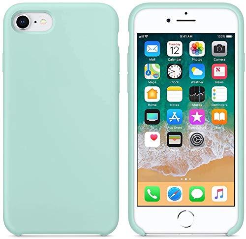 DICAS MOBILE Funda de Silicona para iPhone 7/8, Silicone Case, máxima Calidad, Textura Suave, Forro Interno Microfibra… (Verde Mar)
