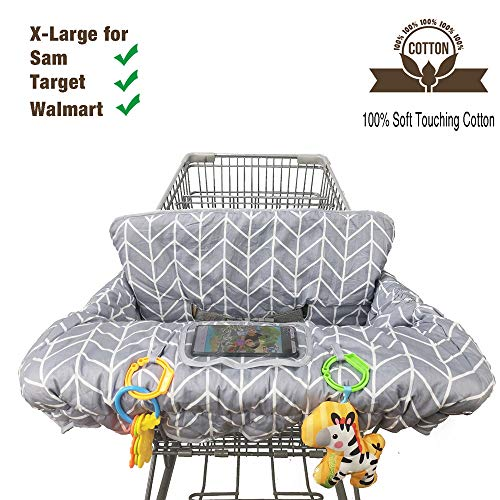Shopping Cart Cover for Baby Cotton High Chair Cover Reversible Full Safety Harness, Machine...