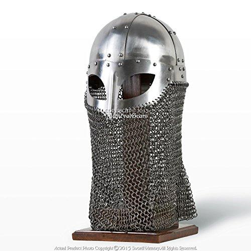 Medieval Gears Brand Battle Ready Viking Vendel Helm Spectacle Helmet Chainmail Camail 16G SCA LARP