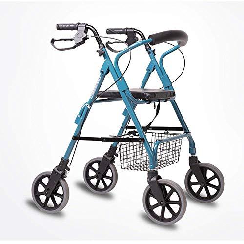 HJW Gehhilfe Auxiliary Ältere Menschen Walker/Senioren Vier Runden Driving Fahrzeuge Einkaufswagen Aluminium-Legierung Pulley Mit Sitz Mit Korb Pedale Größe: 68-56 * (82-94) cm