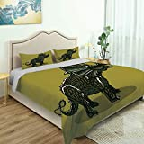 SUPNON Modern Quilt Cover Bedding Set Dinosaur, Cartoon Style Anchiceratops Dino, Cotton Quilt Cover and 2 Pillowcases Bedding 3 Piece Duvet Cover Set No18954 - Queen Size