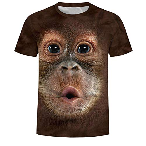 Unisex 3D Funny Printed T-Shirt Monkey Pattern Men Summer Graphic Short Sleeve Tee Shirts Tops-M