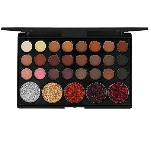 29 Colors Matte Glitter Eyeshadow Palette, ROMANTIC BEAR Maquillage de fard à paupières longue durée (Earth)