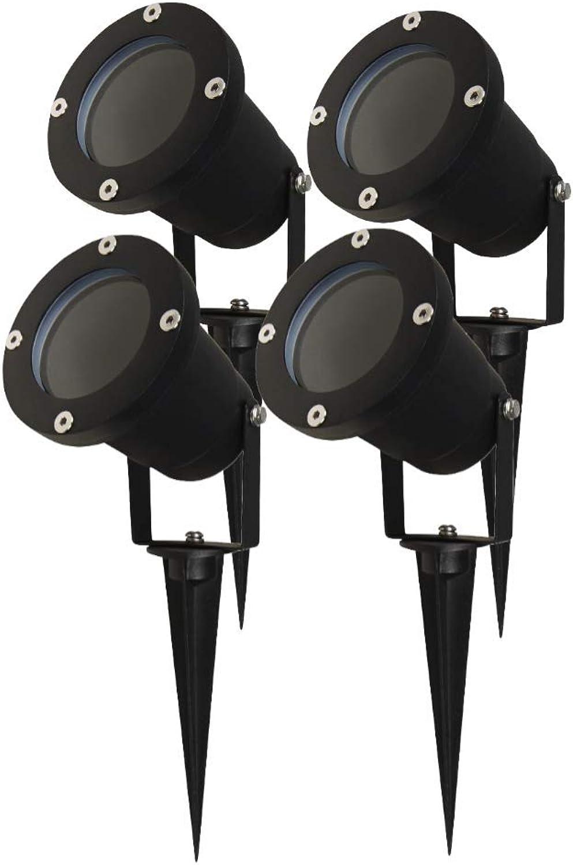 Erdspiestrahler in Schwarz - 4er-Set, IP65, GU10-Fassung Blaumenlampe edel Wegestrahler Wegelicht Led-Lampe Wegbeleuchtung Rasenlicht Wasserdicht Gartenbeleuchtung runde Outdoor-Leuchte