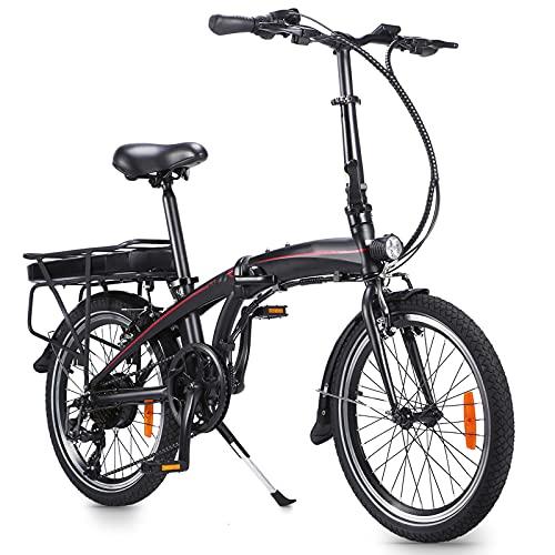 Bicicleta elctrica Plegable Electric Bike Bici eléctrica de la Ciudad del neumático de 20 Pulgadas Bicicleta eléctrica con Caja de Cambios de 7 velocidades Adecuado para Adolescentes y Adultos.