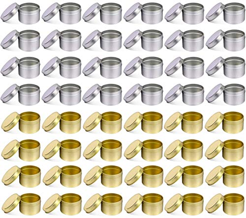NRANSON 48 PCS 8 OZ frascos para Hacer Velas de Ronda de Vela del Metal latas de Reutilizable Vela latas de Bricolaje Arte Manualidades Suministros (5OZ,24PCS Silver+24PCS Gold)