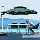 Patiassy 10 Ft Double Top Windproof Offset Patio Umbrella Outdoor Round Umbrella Large Cantilever Umbrella with Heavy Duty No Rust Aluminum Frame for Garden, Backyard and Pool - Beige