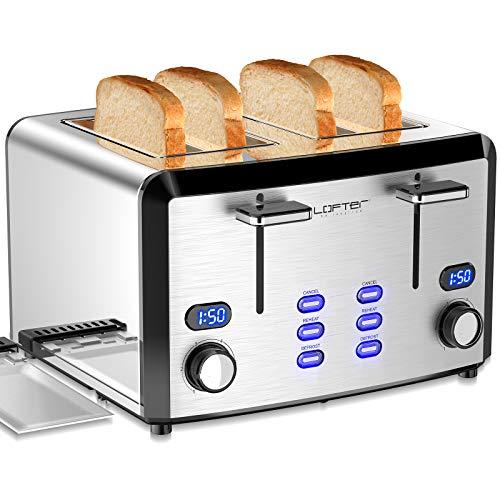 LOFTer Toaster 4 Scheiben mit LED Anzeige 4er Toaster aus Edelstahl mit 6 Bräunungsstufen, Brotzentrierung, Breite Schlitz, Krümelschublade, Auftau/Aufwärm/Stopp Funktion Toaster