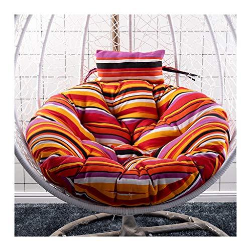 Hängendes Korbstuhl Kissen,Drehsessel Round Schwenksessel Korbsessel Hundekorb Hundesessel Gartensessel Sessel (Color : Stripe1, Size : 105cm(41inch))