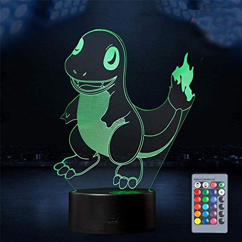 Charmander Pokémon 3D Night Light, Optical Illusion USB Powered 16 Colours Flashing Touch Switch Bedroom Decoration Lighting for Kids Christmas Gift