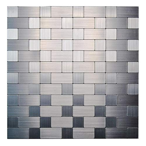 KASARO Peel and Stick Mosaic Tile Backsplash Stainless Steel Self Adhesive Tile for Kitchen Wall Bathroom (10, Long+Short)