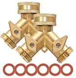 """ShoNew Garden Hose Splitter 2 Way Heavy Duty Solid Brass Hose Y Valve Connector, 3/4"""" Garden Hose Adapter Water Hose Splitter with 2 Shut Off Valves and 6 Extra Rubber Washers (Pack of 2)"""