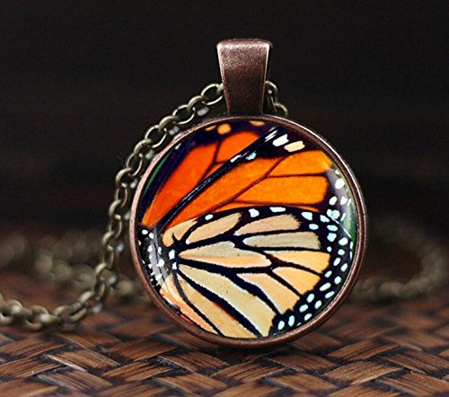 Monarch Butterfly Wing Necklace, Butterfly Wing Necklace, Glass Necklace, Monarch Pendant, Butterfly Necklace, Nature Jewelry Insect Pendant