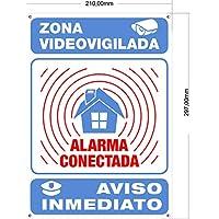 Tu Alarma SIN Cuotas | Cartel Alarma Conectada Interior/Exterior Metálico y Ultra-Resistente | Cartel disuasorio, Placa Aviso a policía, 30x21 cm