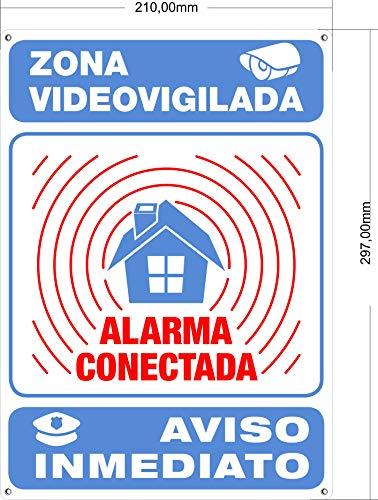 Cartel Alarma Conectada Interior/Exterior Metálico y Ultra-Resistente | Cartel Disuasorio, Placa Aviso a policía, 30x21 cm