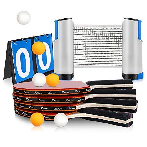 Xddias Set da Ping Pong, Professionale Tennis da Tavolo Racket Set - 4 Racchetta/Pagaia + 6 Palline + Regolabile Rete + Scheda di Punteggio
