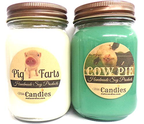 Cow Pie and Pig Farts- Set of Two 16 Ounce Country Jar 100% Soy Candles