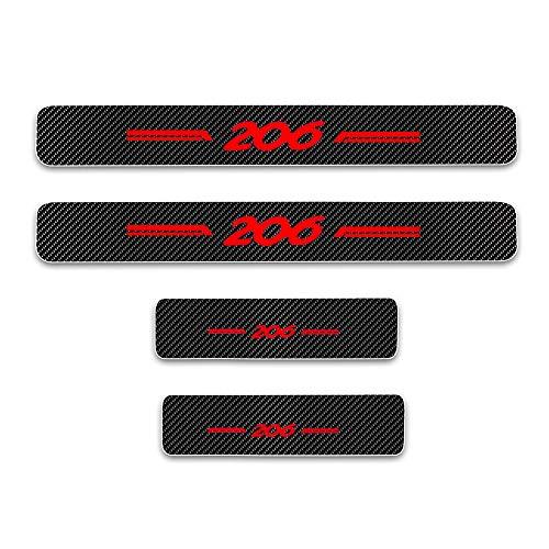 Para 206 4D M Fibra de Carbono Pegatinas Sillín Pedal Proteger Umbral Cubierta Car Styling Sticker 4 Piezas Rojo