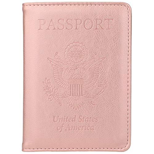 GDTK Leather Passport Holder Cover Case RFID Blocking Travel Wallet (Rose Gold)