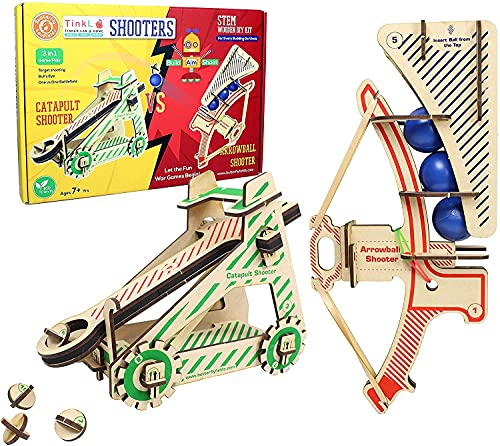 ButterflyEduFields STEM Construction Toys for 6 7 8 9 10+ Years Boys Girls   2in1 DIY Catapult Wooden Activity, Guns Shooter Kit ,Made in India Science Engineering Project