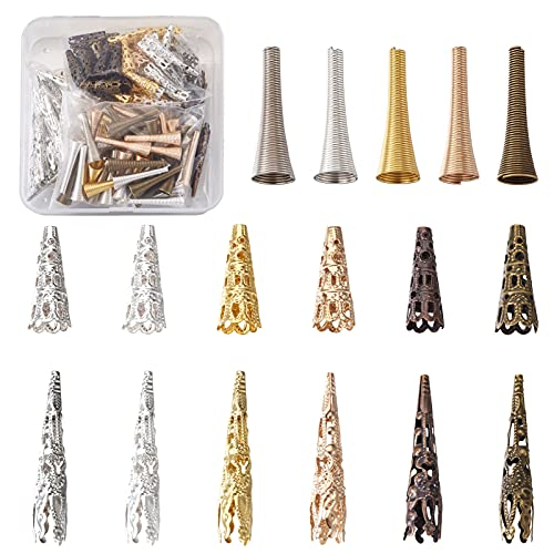 Fashewelry 170 unids/caja de 3 estilos de filigrana flor espaciador tapas de cuentas tibetano conos de metal extremo de cuentas tapa 22 ~ 41.5mm para la fabricación de joyas