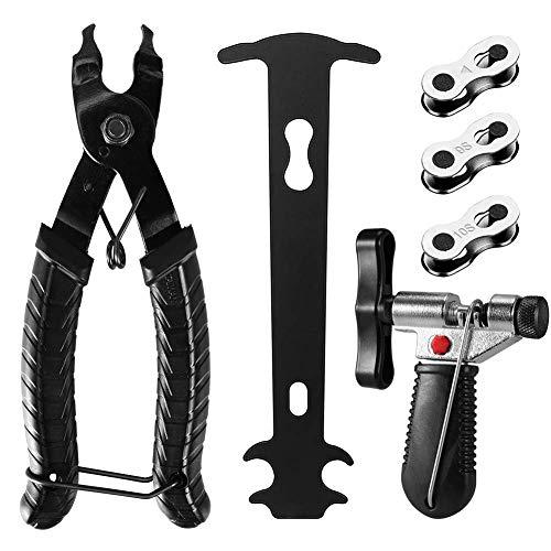 KNMY Fahrrad Kettenwerkzeug, Fahrrad Link Zange+Fahrrad Ketten Werkzeug+Ketten Prüfer+3 Paar Fahrradketten Kettengliede Fahrrad Reparatur Werkzeug Set