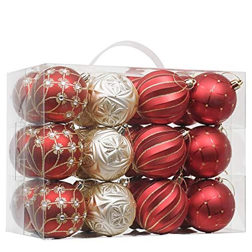 Valery Madelyn Weihnachtskugeln 24 Stücke 7CM Kunststoff Christbaumkugeln Glänzend Glitzernd Matt mit Aufhänger Weihnachtsbaumschmuck Weihnachten Dekoration Luxus Thema Rot Gold