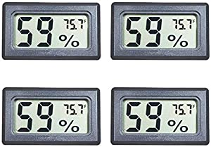 Veanic 4-Pack Mini Digital Electronic Temperature Humidity Meters Gauge Indoor Thermometer Hygrometer LCD Display Fahrenheit (?) for Humidors, Greenhouse, Garden, Cellar, Fridge, Closet