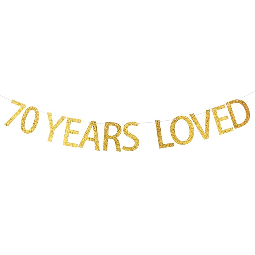 WeBenison Gold Glitter 70 YEARS LOVED Banner - Happy 70th Birthday, Wedding Anniversary Party Bunting Photo Props Decorations