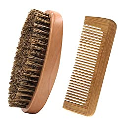 Beard brush and beard comb set, 100% real wood, antistatic wood comb, high quality beard brush with boar bristles and beard comb, ideal for beard care on the go, styling and design, pocket comb