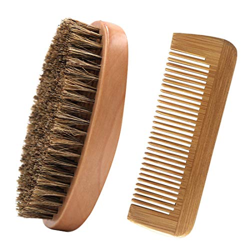 Bartbürste und Bartkamm Set,100% Echtholz,Holz-Kamm antistatisch,Hochwertige Bartbürste mit Wildschweinborsten und Bartkamm,Ideal für die Bartpflege Unterwegs,Styling und Gestaltung,Taschenkamm