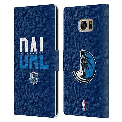 Head Case Designs Ufficiale NBA Tipografia 2019/20 Dallas Mavericks Cover in Pelle a Portafoglio Compatibile con Samsung Galaxy S7 Edge