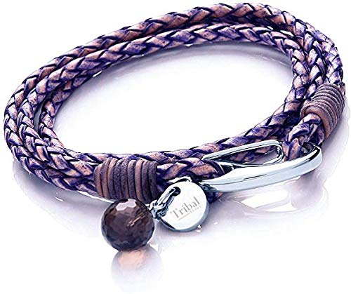 Blue Violet Leather Charm Bracelet for Women, Multi-Strand Leather Bracelet with Shrimp Clasp, Crystal Charm + Disc. 19cm, by Tribal Steel