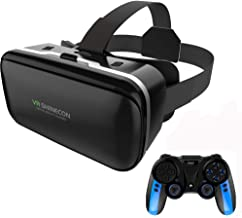 VR Headset for iPhone & Android Phone,3D VR Glasses for TV,Movies & Video Games with Wireless 4.0 Mobile Game Controller J...