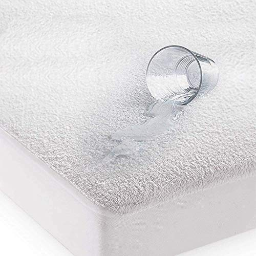 Comfortos Terry Towel Waterproof Mattress Protector Fitted Bed Sheet Breathable Protectors Topper Cover Super Absorbent Stain Proof Non-Allergenic & Non-Noisy (white, Double)