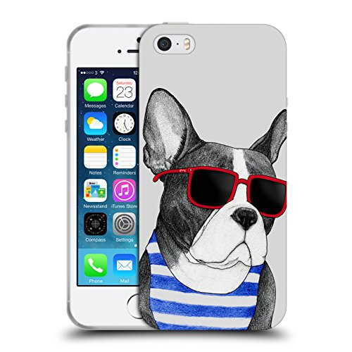 Head Case Designs Officially Licensed Barruf Frenchie Summer Style Dogs Soft Gel Case Compatible with Apple iPhone 5 / iPhone 5s / iPhone SE 2016