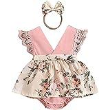 glusess Vestido de encaje para bebés recién nacidos, con diseño floral, con diadema, color rosa, talla 6-12 meses