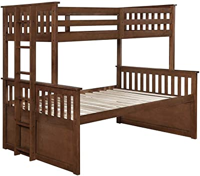 Benjara Slatted Design Twin Over Full Bunk Bed with Trundle and 3 Drawers, Brown