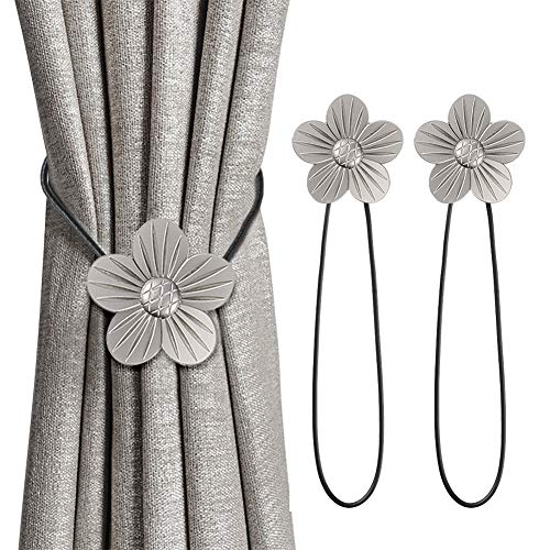 INHDBOX Magnetische Vorhang Raffhalter Kreativ Vorhang Clips Seil Rückwärtige Vorhang Halter Schnallen Vorhang Binder Gardinenhalter für Haus Dekoration 2 Stück (Silber, Pflaumenblüte)
